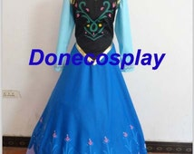 Princess Anna Cosplay Costume Anna  Dress  Cosplay Adult size