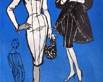 Prominent Designer A548 Extravagent Wiggle Dress & Coat 1960's / SZ10 UNCUT