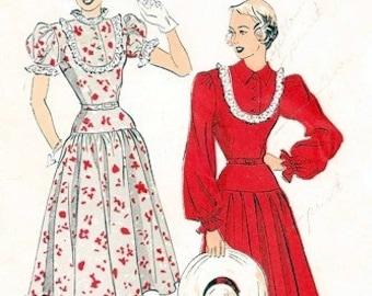 Advance 4824 Puffs & Ruffles Dress / ca. 1948 / SZ12 FACTORY FOLDS