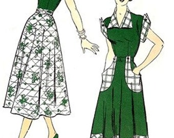 New York Pattern 698 Utterly Charming Dress 1940's / SZ13 FACTORY FOLDS