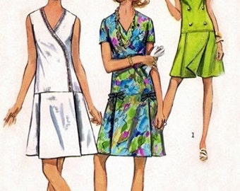 Simplicity 8849 Adorable Pantdress with Bodice Variations 1970 / SZ 12.5 UNCUT
