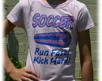 Soccer Shirt - Girls Soccer Gift - Soccer Player - Pink Run Fast Hit Hard Soccer Shirt - Soccer Life - Soccer Mom, Soccer Team, Soccer Coach