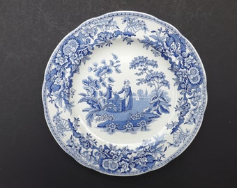 Spode blue plate - The Georgian collection - Girl at Well