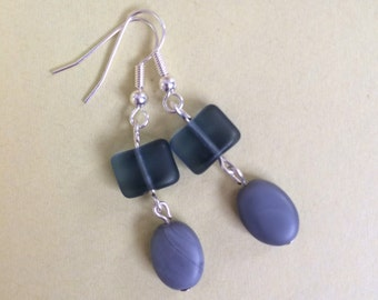 Blue glass earrings, handmade and unique