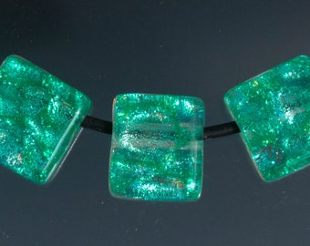 Dichroic Cube Beads - Set of 3 - Turquoise Dichroic Beads, Green Dichroic Beads, Purple Dichroic Beads, Blue Dichroic Beads