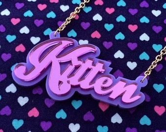 Pink & Purple KITTEN Acrylic Necklace