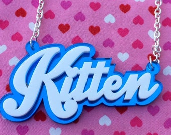 White & Blue KITTEN Acrylic Necklace