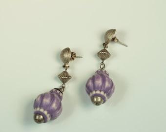 Purple and Silver Pierced Earrings