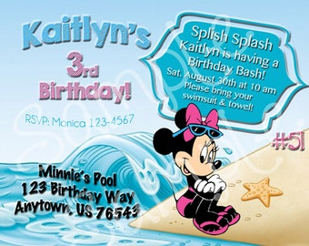 Minnie Mouse #51 Pink, Personalized / Custom, Printable, Birthday, Pool Party Invitation- Digital/ You Print