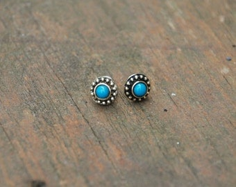 Traditional Silver Stud Earrings with Turquoise Blue Stones and Silver Posts