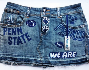 SALE! Penn State Denim hand-painted mini skirt. WE ARE! Recycled & ink'd exclusively by artfink. wearable art!