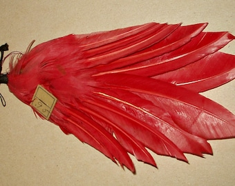 Vintage Edwardian 1920's Old Store Stock Millinery Hat Trim Rose Feather  Embellishment With Tag