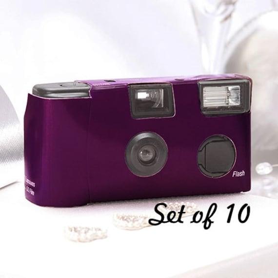 10 Disposable Cameras Wedding Favor Purple Camera