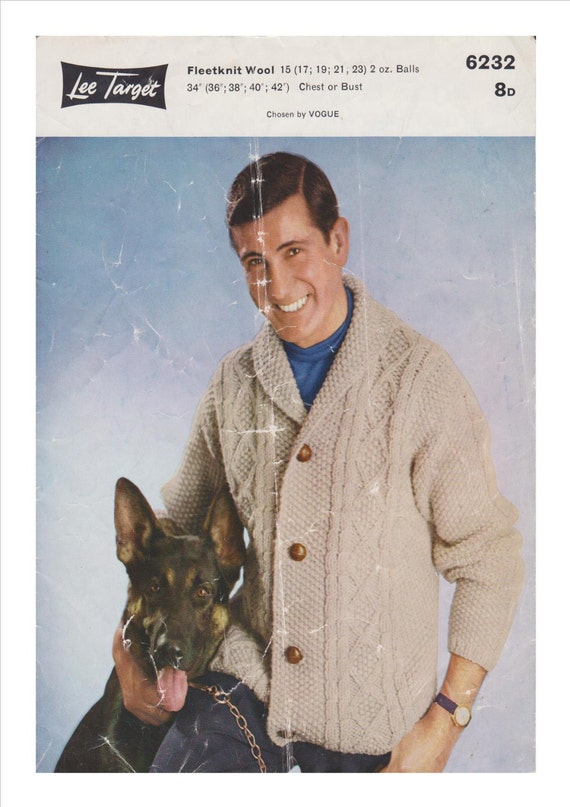 Vintage Aran Cardigan Knitting Pattern : Vintage Mens Aran Cardigan Knitting Pattern by MyWoollyEmpire