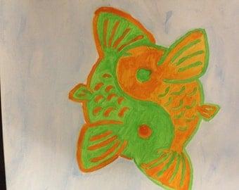 Orange & Green Yin-Yang Koi Fish Watercolor Painting