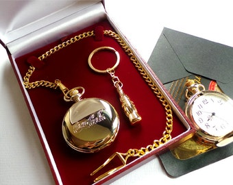 24k Gold Coca Cola Coke Bottle Keyring Keychain Gift Set with Gold Plated Pocket Watch in Luxury Gift Case