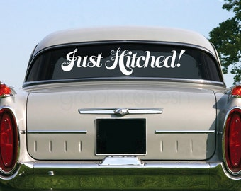 JUST HITCHED! Surface decal - Car sign - Wedding wall / car / surface graphics by GraphicsMeshs