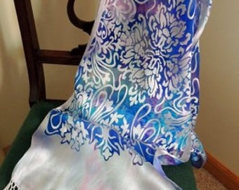 Fuchsia, Purple, Aqua Hand Dyed Silk/Rayon Devore Scarf