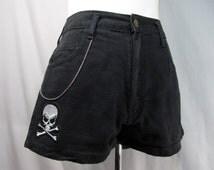 Black Jean Shorts Skull & Crossbones Patch w/ Stainless Steel Chain Women's Small Waist 28 Medium Rise 5 Pocket Sexy Summer Hip Hot Goth