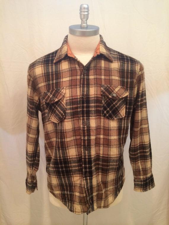 70s vintage kmart sportsman long sleeve shirt retro plaid for Kmart button up shirts