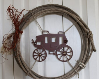Western Rope and Barbed Wire Wreath.  Western stage coach and rope wreath.  Rustic raffia, bling, stage coach, rodeo rope decor.