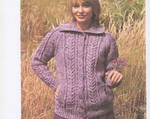 Ladies Chunky Knit Cardigan. Ladies Cardigan Pattern, Ladies Jumper Pattern. Chunky Knit Womens Sweater. Winter Cardigan. Pattern only.