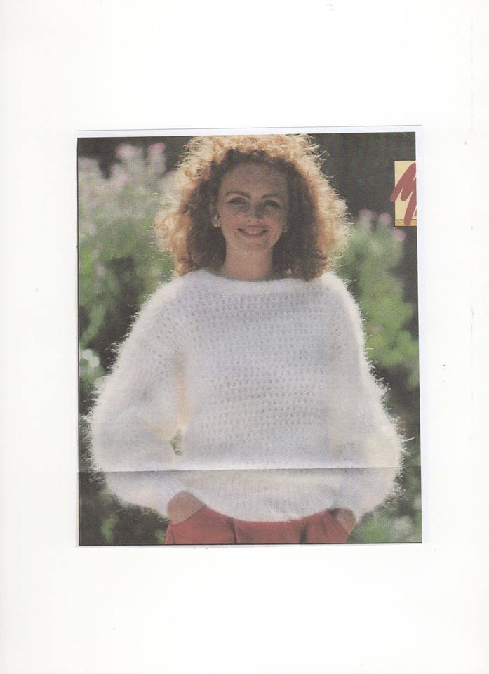 Knitting Pattern Mohair Jumper : Womens White Mohair Jumper, Mohair Knitting Pattern, Mohair Wool Pattern, Moa...