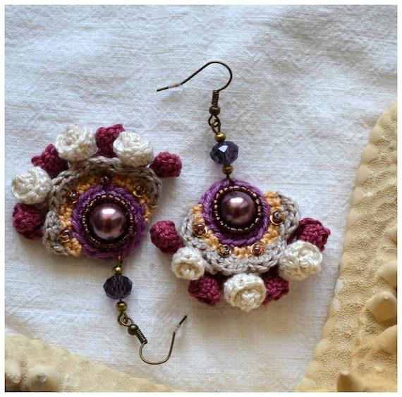 crochet marsala dangles vintage look earrings glass pearls