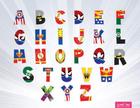 graphic relating to Superhero Letters Printable identified as 100+ Superhero Alphabet Printables yasminroohi