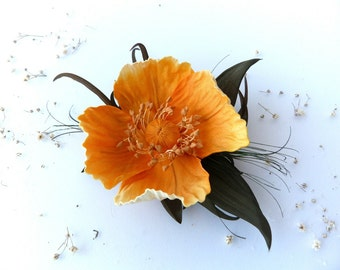 Poppy orange (brooch / clip on hair/wreath/bracelet)