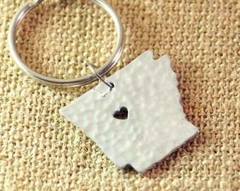 I heart Arkansas Key chain, Hammered Map key chains,State Map Keyring, State charm, 925 Silver map jewelry, Alloy State Map Heart cut out