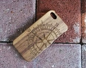 Black walnut compass wood iphone 5s case, wood iphone 4 case, wood iphone 4s case, wood iphone 5 case, galaxy s4 case, wood iphone 5c case