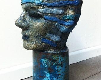 pipe-astronaut, Plastik, Skulptur , Beton- Kopf, original art- work