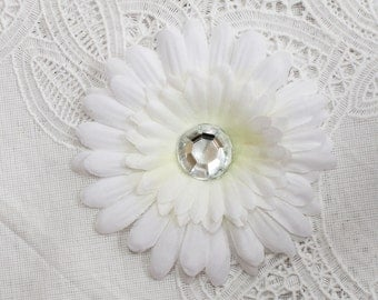 White Silk Daisy  Flower with Jeweled center hair Clip