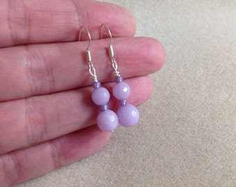 Sterling silver and faceted lavender jade earrings