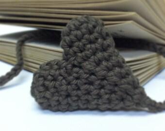 BOOKMARK, Heart Shape Brown Bookmark / Handmade Croshet Bookmark by RoyalCrownHandmade