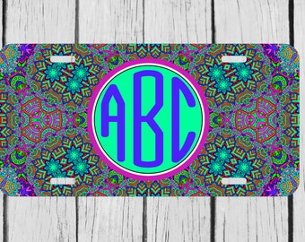 Personalized Monogrammed Indian Summer Aztec License Plate Car Auto Tag Custom Monogram L114
