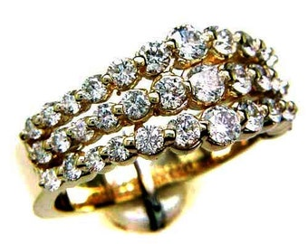1.25CT Diamond Anniversary Ring Triple Split Style Band Right Hand Rings Wedding Bands Art Deco Platinum 18K 14K White Yellow Rose Gold