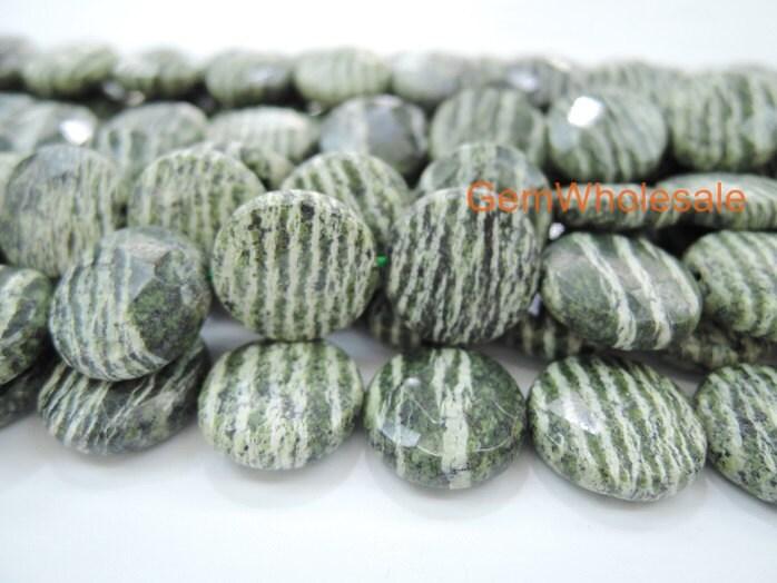 15 5 Quot 16mm Natural Green Zebra Jasper Coin Faceted High