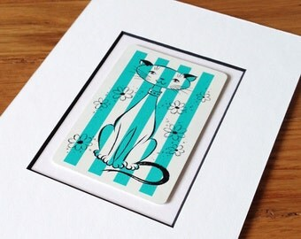 Teal Mid-Century Cat • Custom Matted • Ready to Display or Frame: 5 X 7