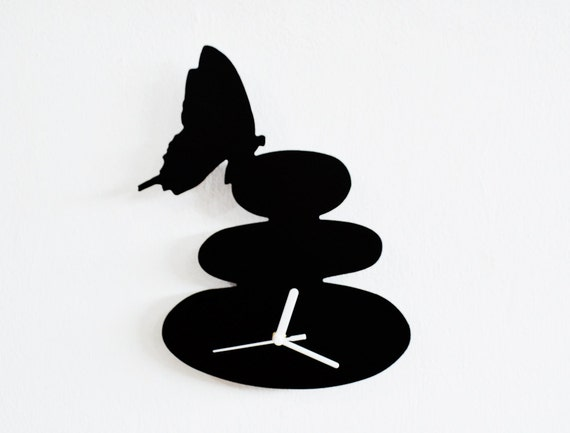 Zen stone with a butterfly Wall Clock