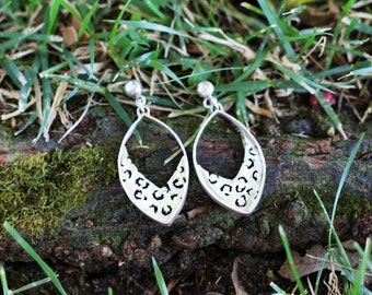 Sterling Silver Leopard Print Earrings
