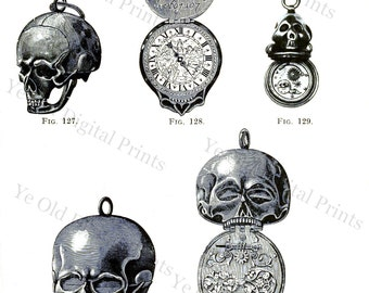 Digital Graphic of Skull or Death's Head Watches from Victorian 1800s Book on Clocks and Watches - Collage Sheet Instant Download