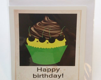 chocolate cupcake birthday card in Jamaican Patwa