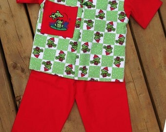 Size 5, Children's Christmas Pajama, Handmade Children's Flannel Frog Pajama