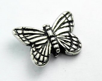 Silver Plated Pewter Monarch Butterfly Bead, 16x11mm, Set of 2 with Antique Finish, Made in USA, #TC127