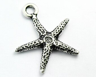Silver Plated Starfish Charm, 20x18mm, with Antique Finish, Made in USA, #TC152