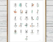 Woodland Alphabet Poster, Instant Download, Abc Poster, Woodland Nursery Wall Art, Alphabet Wall Art, Woodland Abc, Nursery Print