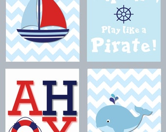 INSTANT DOWNLOAD - 8X10 Baby Boy Nautical Nursery Art - Nuautical Sailor Nursery Artwork - Digital Download