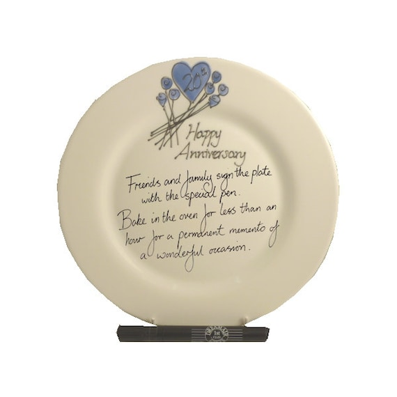 20th Wedding Anniversary Gift Ideas Uk : PERSONALISED 20th China Wedding Anniversary Gift Signature Plate Round ...